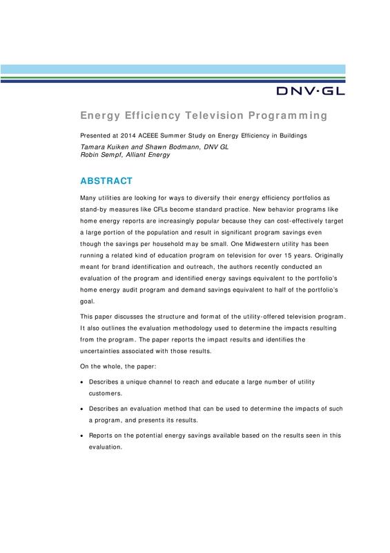 Energy Efficiency TV Programming