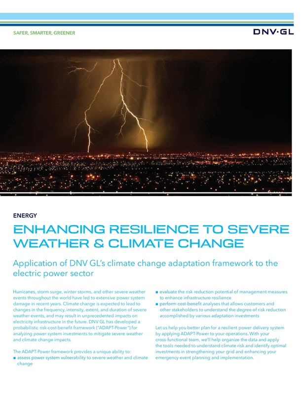 Enhancing resilience to severe weather and climate change