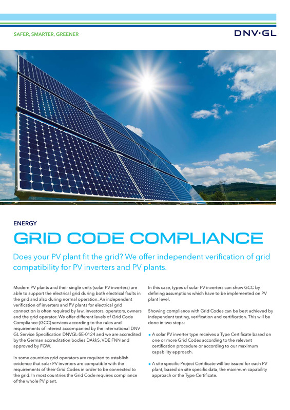 Grid code compliance for PV power plants