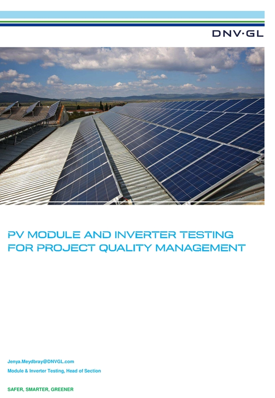 PV module and inverter testing for project quality management
