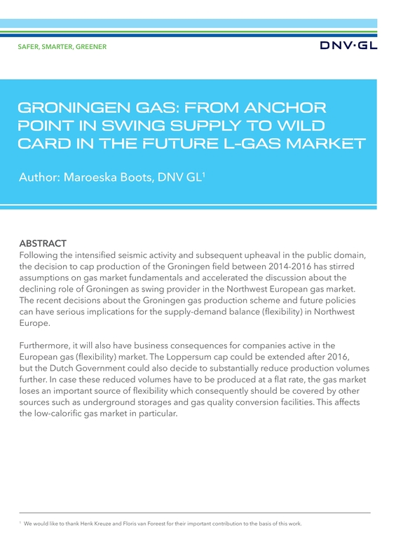 Groningen gas: from anchor point in swing supply to wild card in the future L-gas market