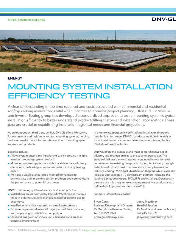 Mounting system installation efficiency testing
