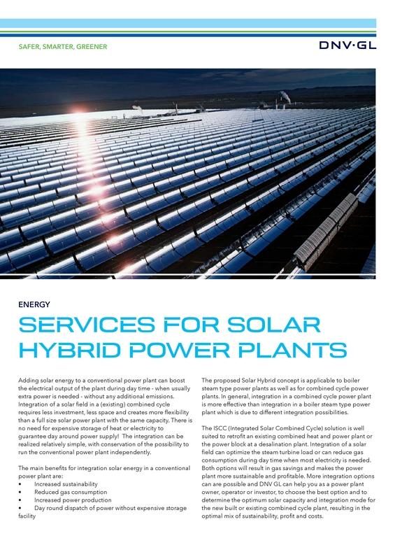Services for solar hybrid power plants