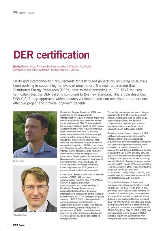 PES Solar - DER Certification bylined article 9 August 2016.pdf
