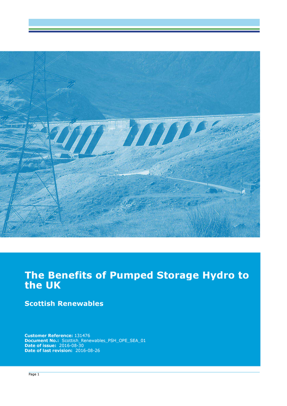 The Benefits of Pumped Storage Hydro to the UK