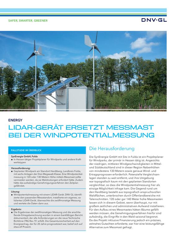 LiDAR-Gerät ersetzt Messmast bei der Windpotentialmessung