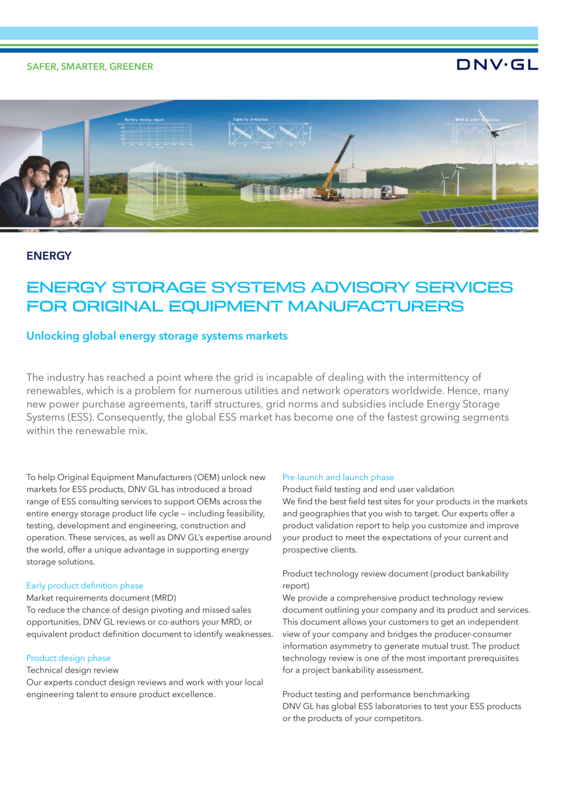 Energy storage systems advisory services for original equipment manufacturers