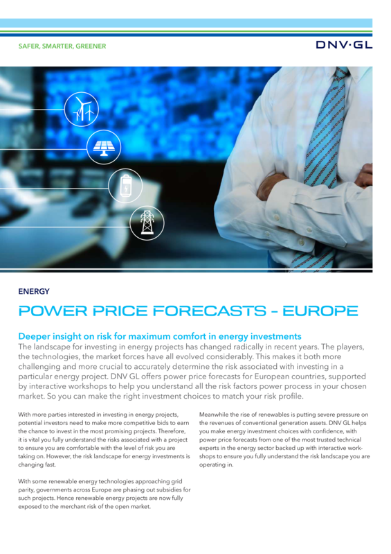 Power price forecasts - Europe