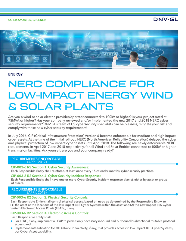 NERC compliance for low-impact energy wind and solar plants