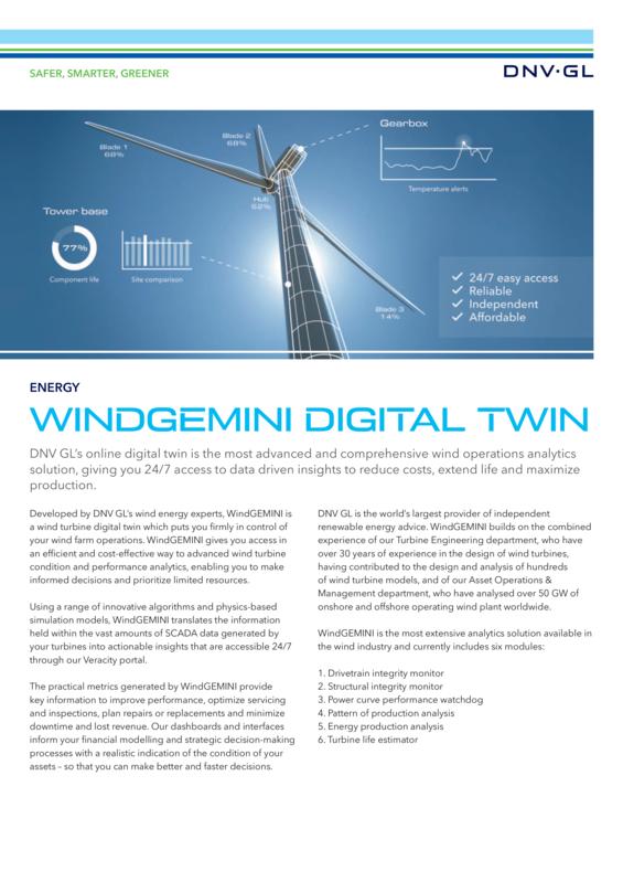 WindGEMINI digital twin for wind turbine operations