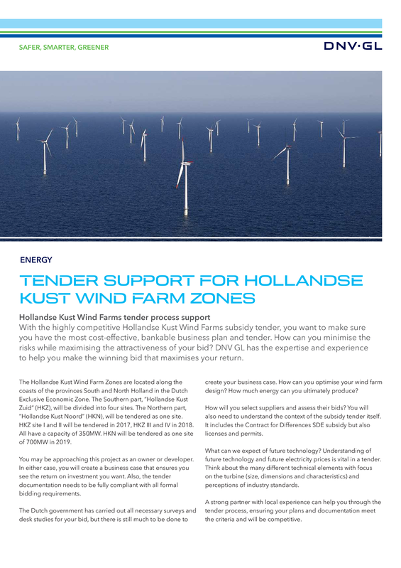 Tender support for Hollandse kust wind farm zones