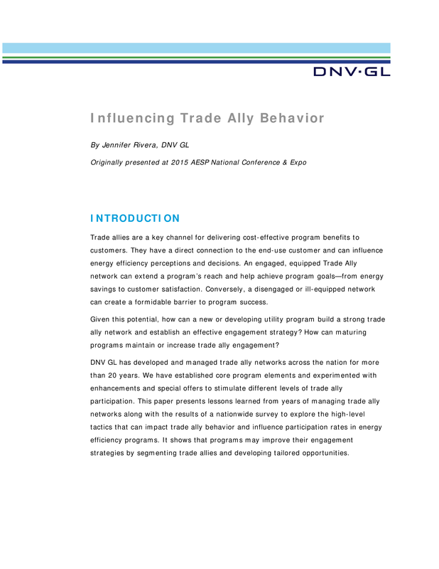 Influencing trade ally behavior