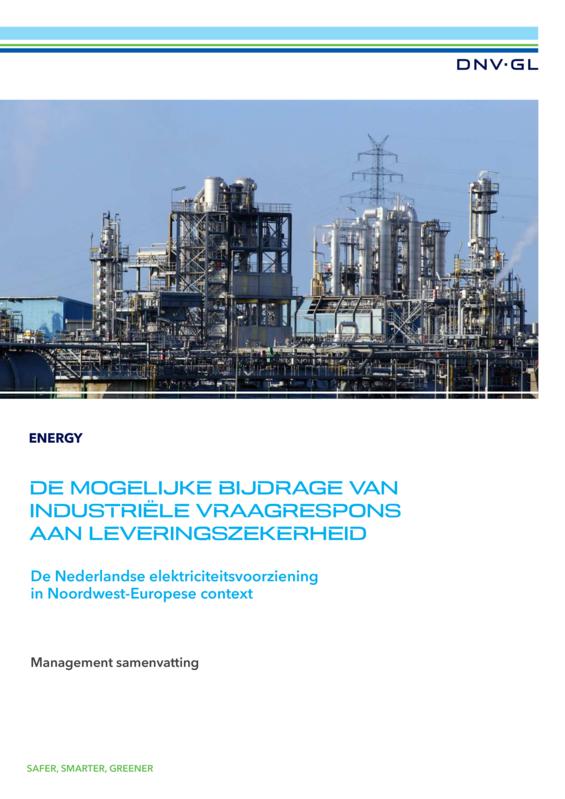 De mogelijke bijdrage van industriële vraagrespons aan leveringszekerheid - managementsamenvatting