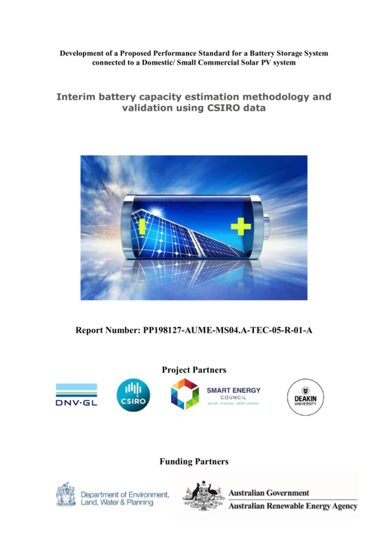 ABPS Interim battery capacity estimation methodology and validation using CSIRO data