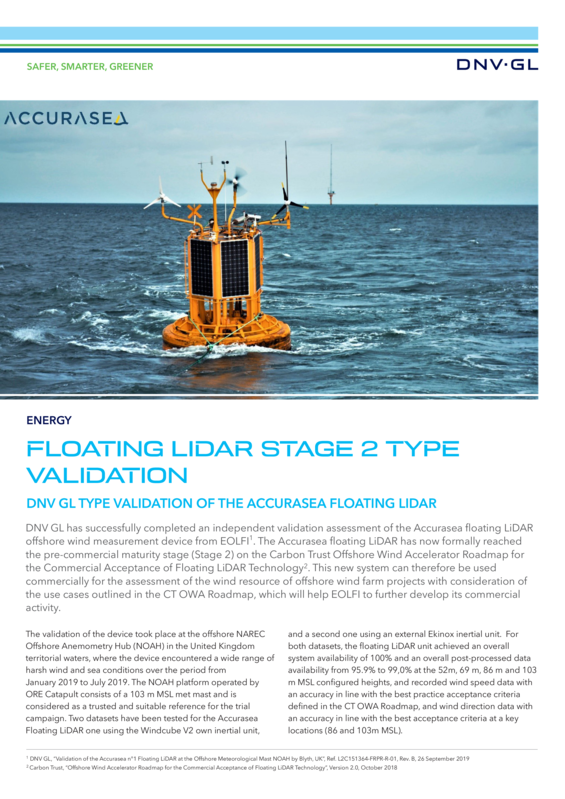 Floating LiDAR stage 2 type validation