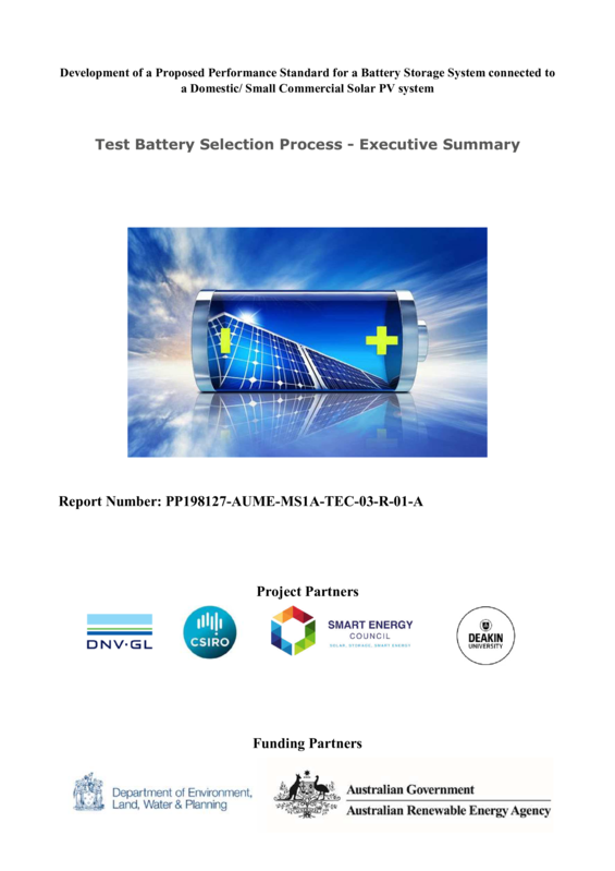 ABPS Development of a proposed performance standard for a battery storage system connected to a domestic/small commercial solar PV system