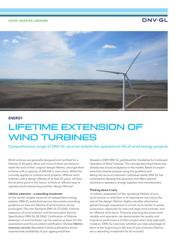 Lifetime extension of wind turbines