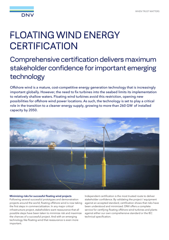 Floating wind energy certification