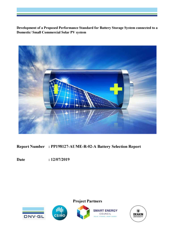 Development of a Proposed Performance Standard for Battery Storage System connected to a  Domestic/ Small Commercial Solar PV system