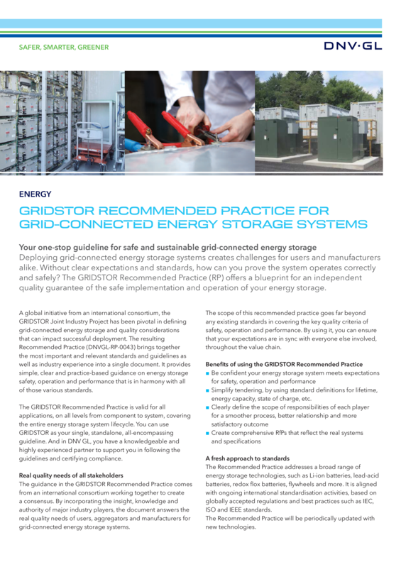 GRIDSTOR Recommended Practice for grid-connected energy storage systems
