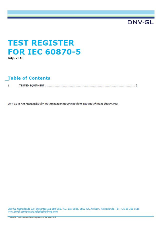 Test register for IEC 60870-5, March 2020