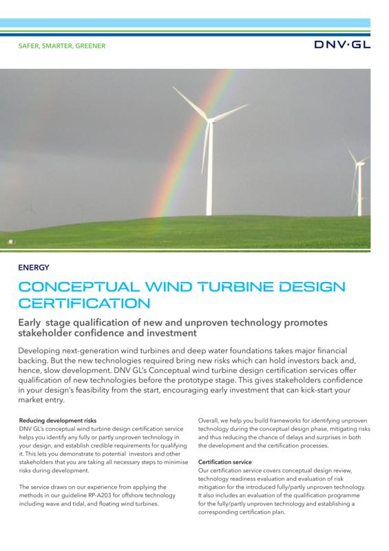 Conceptual wind turbine design certification