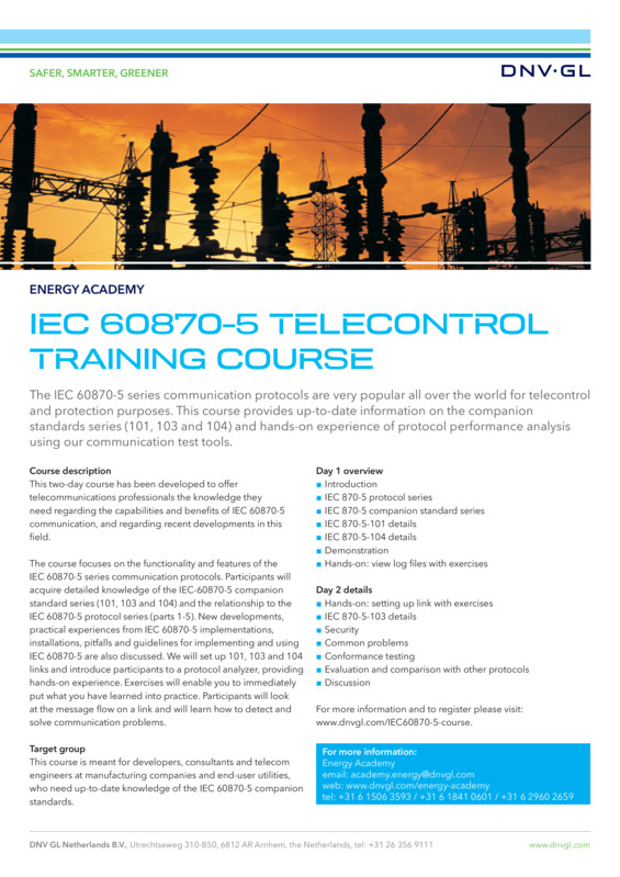 IEC-60870-5 telecontrol training course