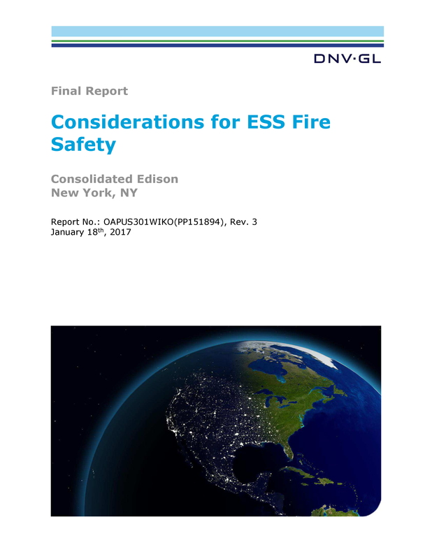 Considerations for ESS Fire Safety - Final Report